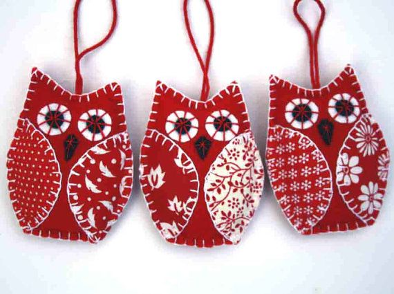 Christmas owl ornaments. 3 red & white felt by PuffinPatchwork
