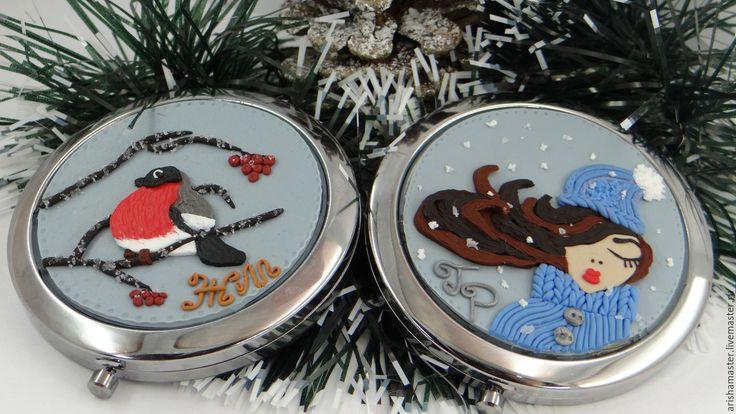 Купить Зеркальца именные - комбинированный, зима, зеркальце, зеркало, зеркальце карманное, полимерная глина