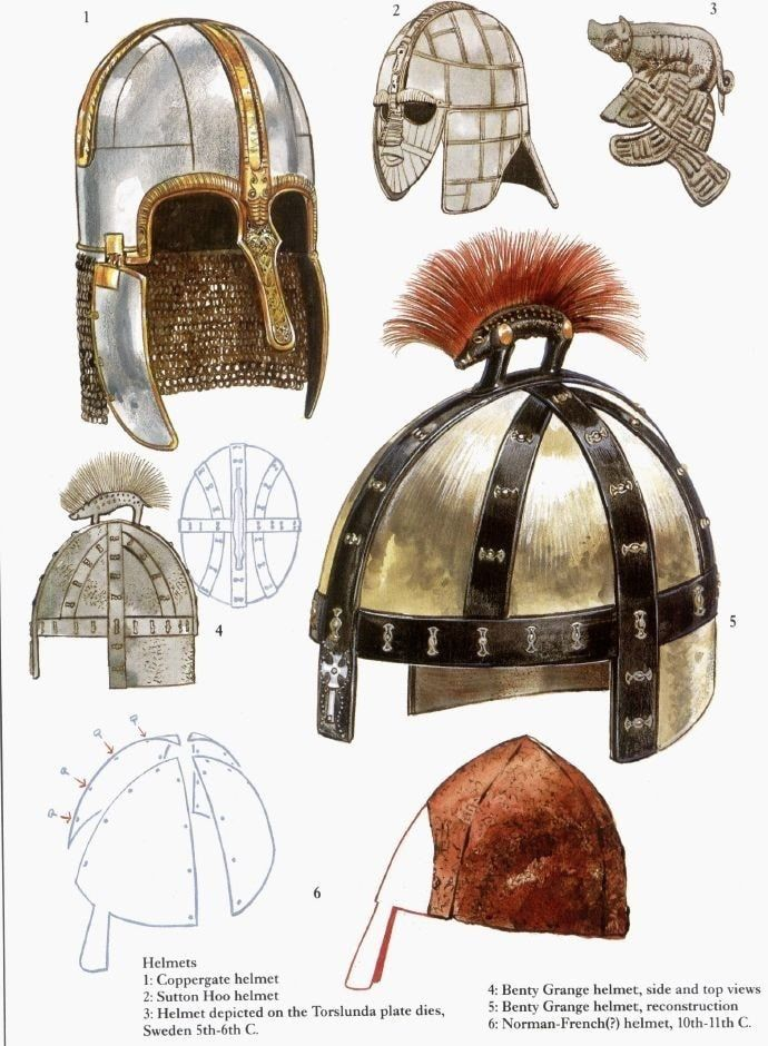 Some Anglo-Saxon helmets, with...