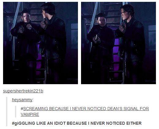 Supernatural fandom #Dean's signal for 'vampire'.
