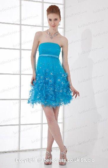 Strapless Neckline Blue Tulle Applique Ruffles Short Prom Gown