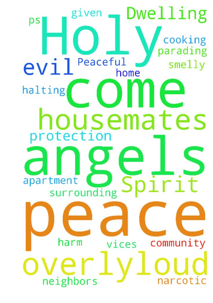Peaceful Dwellings: Holy Spirit and Holy Angels Clean Through Houses Peace Quiet -  I request peace and protection inside our walls and in our surrounding community. I ask for a quieting of the construction next door nailing, sawing, drilling and from various influences in my home as well and from evil amp; vices in yours if you have neighbors, housemates or live in an apartment setting. Peace and halting of banging, stomping, marching, parading, potsmoking, all narcotic amp; addictive…