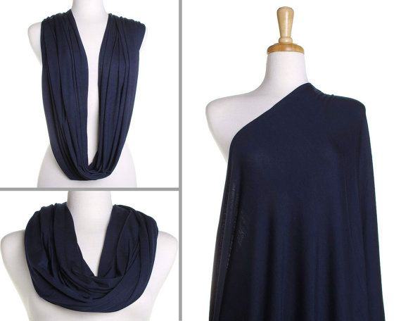 Infinity Scarf / Plain Navy Blue Nursing Cover / Gift for Her / Womens Scarves / Ladies Eternity Wrap / Breastfeeding Scarf / Mothers Day