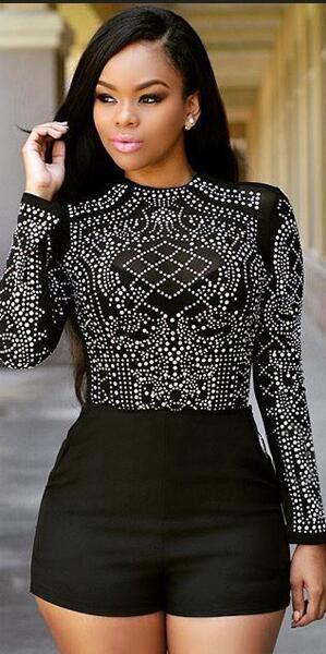 Black Print Mesh Patchwork Long Sleeve Short Jumpsuits