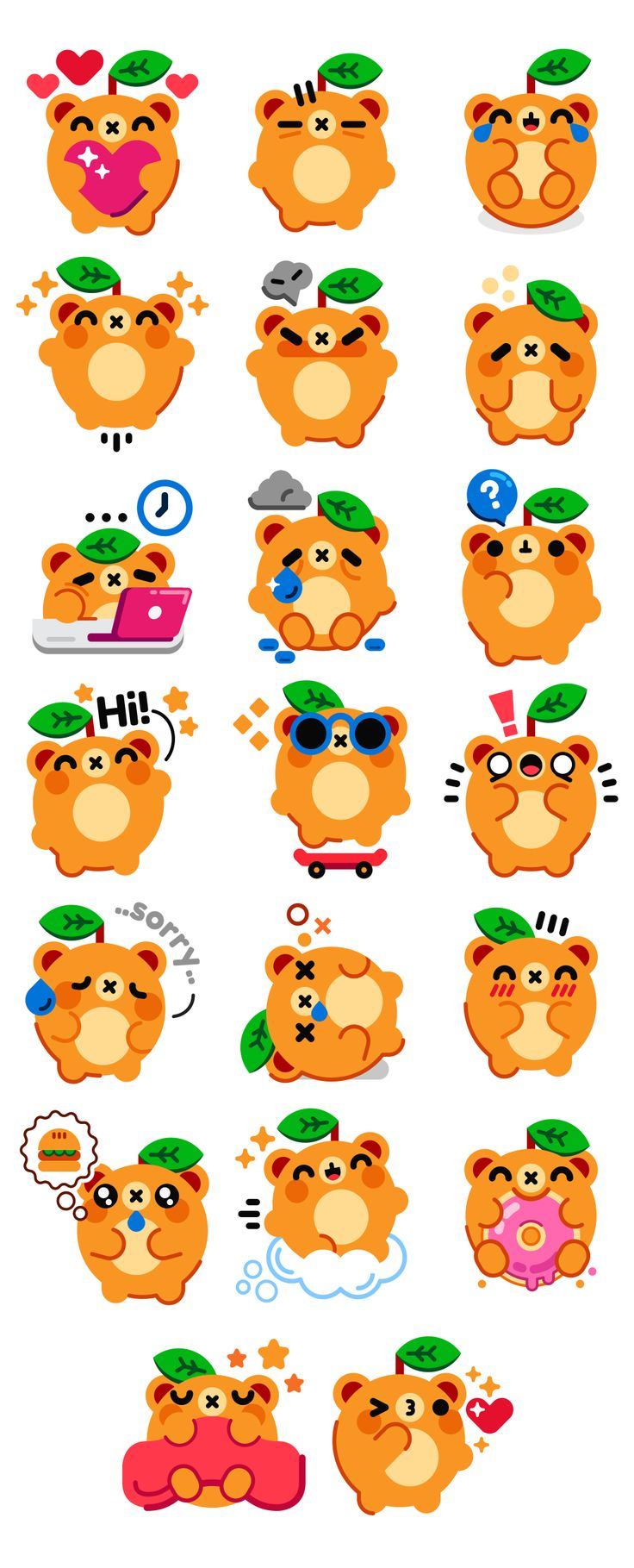 Naranja - Messenger App Sticker Pack - Illustrations by HeyHeyMomo