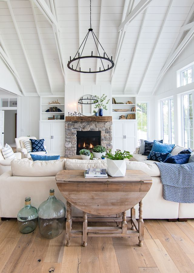Lake House Living Room Blue And White Decor Farm House Living Room Living Room Flooring Home Living Room #rustic #lake #house #living #room