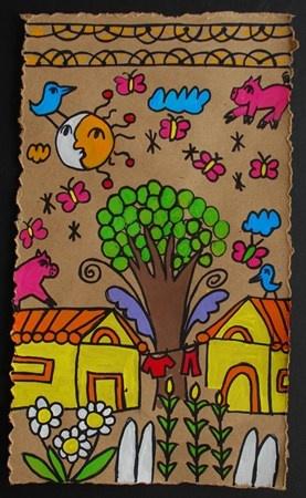 Artsonia:: Alum Creek Elem. Grade 4 Mexican Bark Painting
