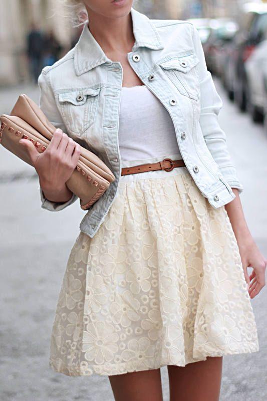 Light wash denim jacket, white top, belt and cream skirt