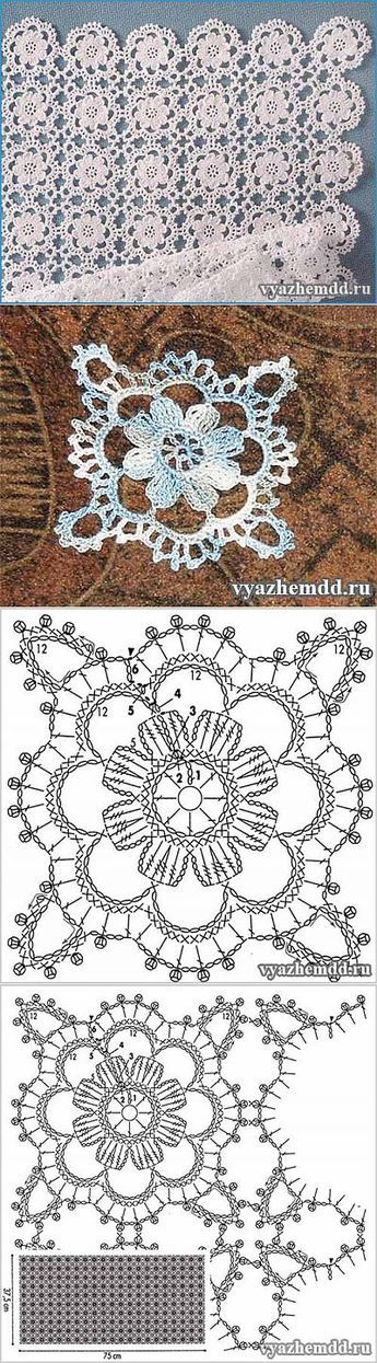 Small flower motif crocheted, join for doily or dresser scarf