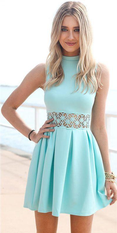 Crystal Aqua Sleeveless Skater Dress