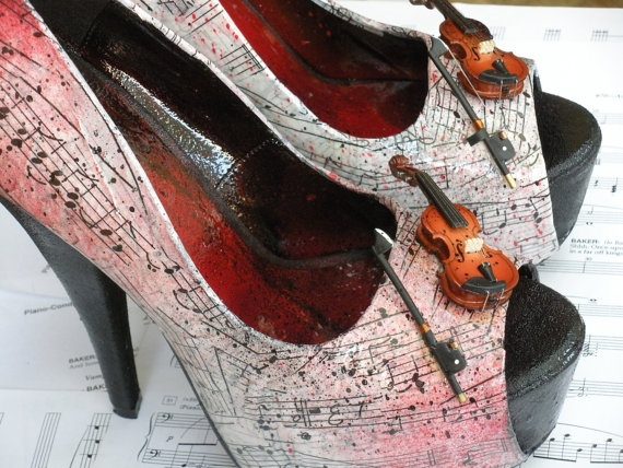 musical shoes..though I should admit that I would wear these without the actual mini size vioalins..
