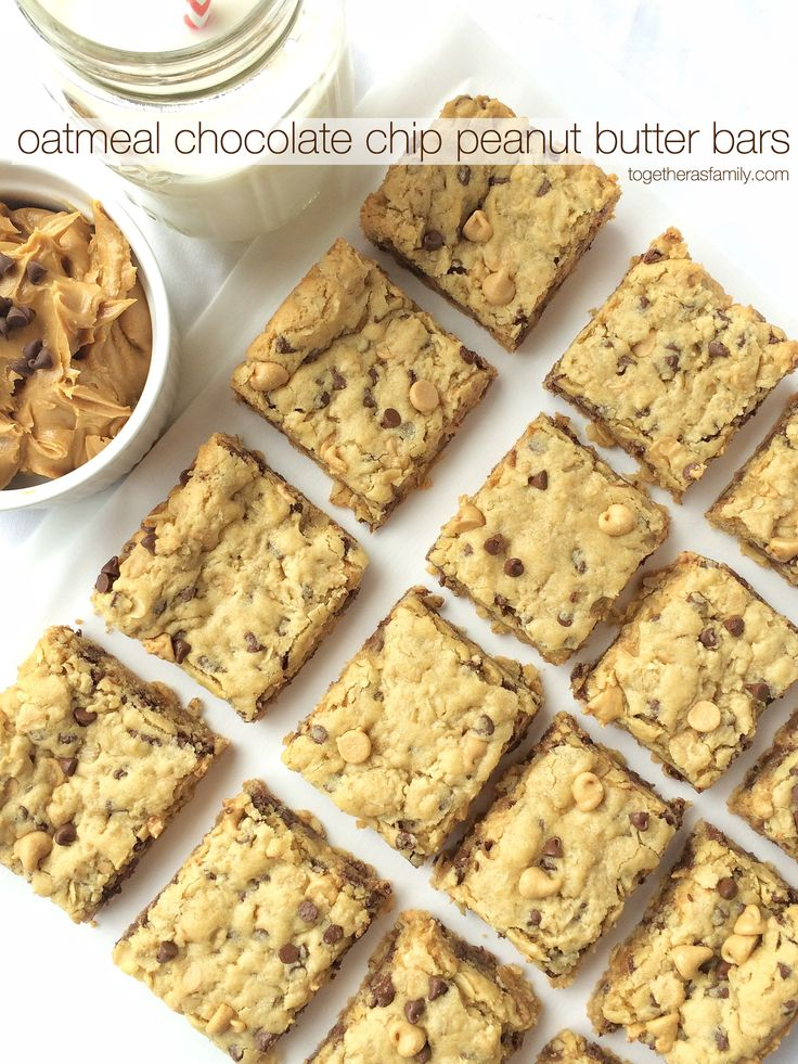 Soft cookie bars loaded with oatmeal, peanut butter, peanut butter chips, and chocolate chips. These are a peanut butter & chocolate lovers dream!  Yesterday I drove to pick up my sister from the airport, with my 3 kids in tow, and we got there pretty early so I decided that we would just park and …