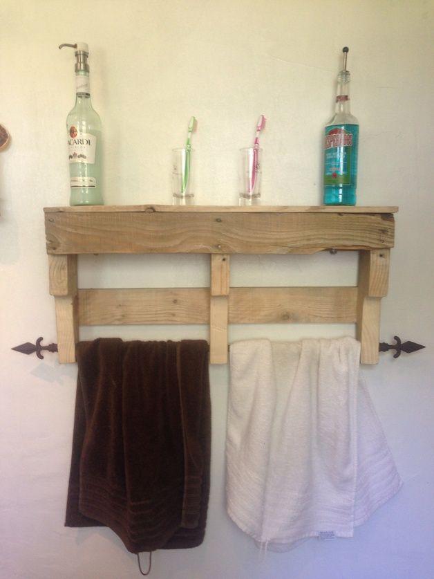 Badezimmer Regal Palette Handtuchhalter upcycling