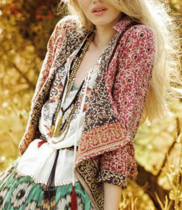 Gypsy Style: Boho patterned jacket, necklaces, printed peasant dress skirt