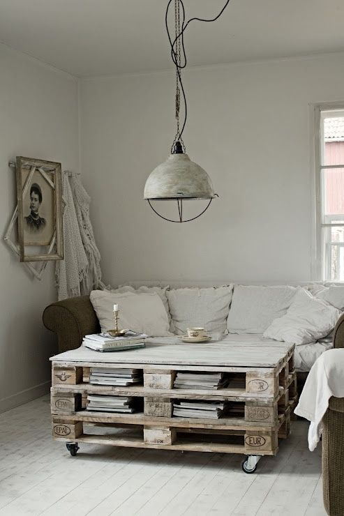 How cool is that - a coffee table made out of pallets!!!!  And a place to put your magazines!