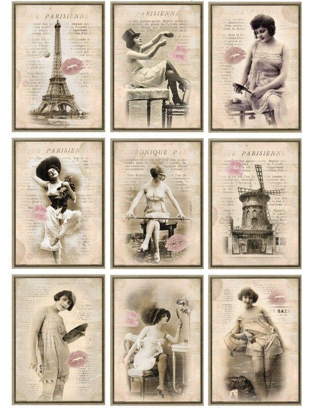 Sheet romantisch Parijs   ~Valentijn   Nostalgie & Brocante