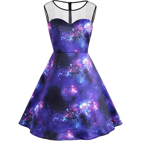 Blue 5xl Plus Size Galaxy Print Sleeve Vintage Dress ($17) ❤ liked on Polyvore featuring dresses, solar system dress, womens plus dresses, women plus size dresses, blue dress and galaxy print dresses