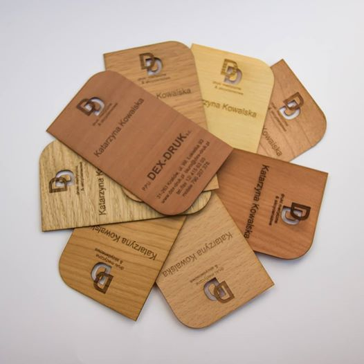 We create beautiful laser -cut business cards for clients looking to represent themselves or their business in a unique way. Our proces allows us to capture great detail in all the materials offered. we create our cards in three categories - wood, laminate and paper. In our Wood category we offer beautiful veneer plywood business cards laser etched and laser cut with your logo and graphics. We offer a large variety of wood in standard and custom shapes and sizes. info@dex-druk.pl