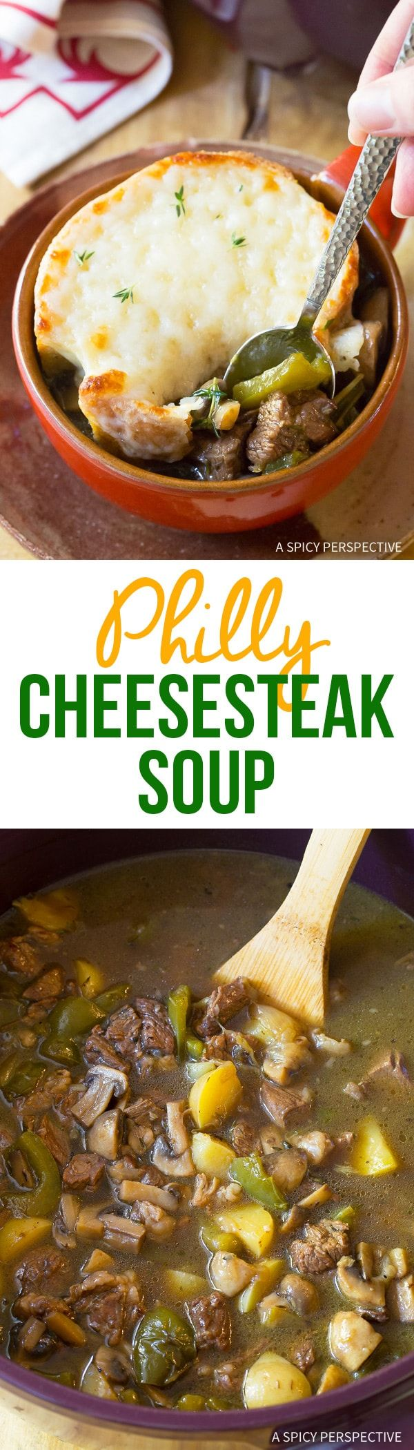 Philly Cheese Steak Soup Recipe - All the appeal of a Philadelphia Cheesesteak Sandwich in a comforting bowl of soup. All the goodness, less calories! via @spicyperspectiv