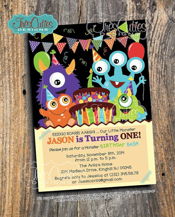 Monster Birthday Invitation - Birthday Bash - BOY - Printable First, Second... Friendly Monster on Etsy, $15.00