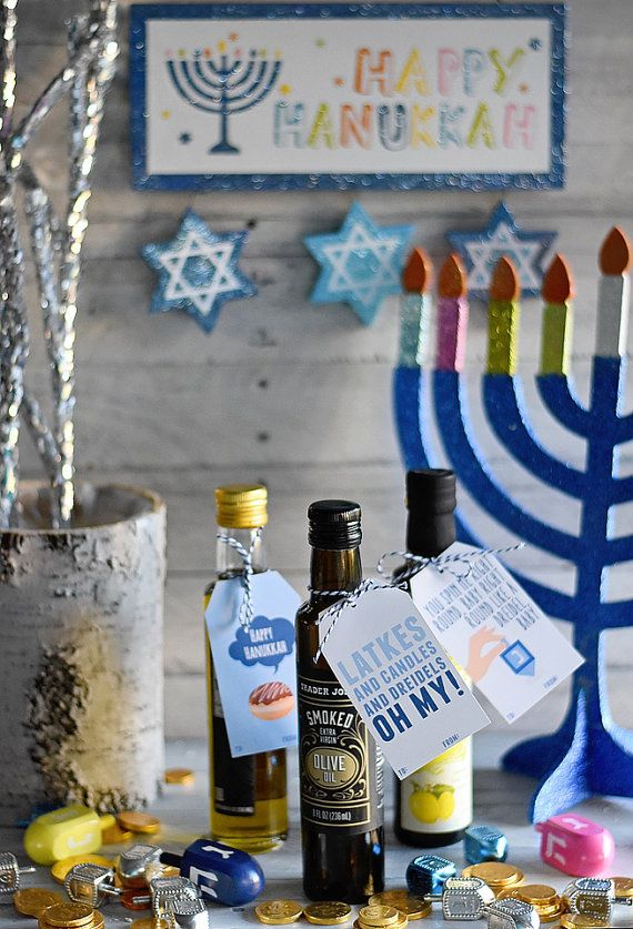 Hanukkah Gift Tags - INSTANT DOWNLOAD PDF,  Chanukah Printable, 8 Crazy Nights, Dreidel, Gift Giving, Menorah, Latkes, Doughnuts, Holidays
