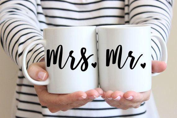 This couples mug set makes a wonderful gift for the newlyweds. Mr and Mrs set of 2 coffee mugs. We have 2 sizes available: 11 fl oz (325 ml) - Perfect for light drinkers and tea lovers 15 fl oz (445 ml) - Ideal for beverage gulpers and coffee addicts!  Want to change the text color? 2 easy steps: 1. Swoon over the color selection in the color chart (see images) 2. Leave a note in the box at checkout with your fave ➤ Double sided printed every time! ➤ Microwave and dishwasher safe  SIGN UP…