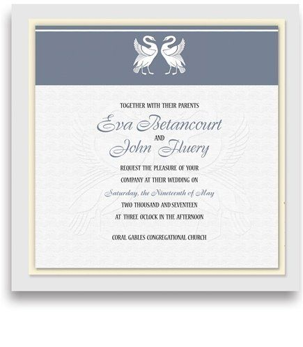 235 Square Wedding Invitations - Swan Blockcut Pewter by WeddingPaperMasters.com. $599.25. Now you can have it all! We have created, at incredible prices & outstanding quality, more than 300 gorgeous collections consisting of over 6000 beautiful pieces that are perfectly coordinated together to capture your vision without compromise. No more mixing and matching or having to compromise your look. We can provide you with one piece or an entire collection in a one stop shopping exp...