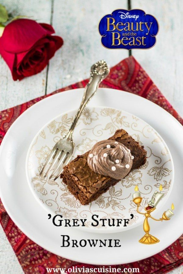 """Top a brownie with the """"grey stuff"""" from Beauty and the Beast. 