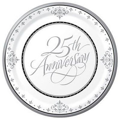 Stafford Silver 25th Anniversary 7-inch Paper Plates by Creative Converting. $4.69. This 25th anniversary theme features classic-style silver, white and black theme is both durable and elegant. 3-ply napkins and formal script truly celebrates a milestone event.