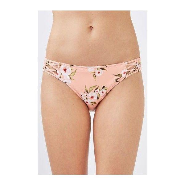 Topshop Posie Pink Bikini Bottoms ($21) ❤ liked on Polyvore featuring swimwear, bikinis, bikini bottoms, pink, bikini beachwear, bikini bottom swimwear, topshop swimwear, pink swimwear and bikini swim wear