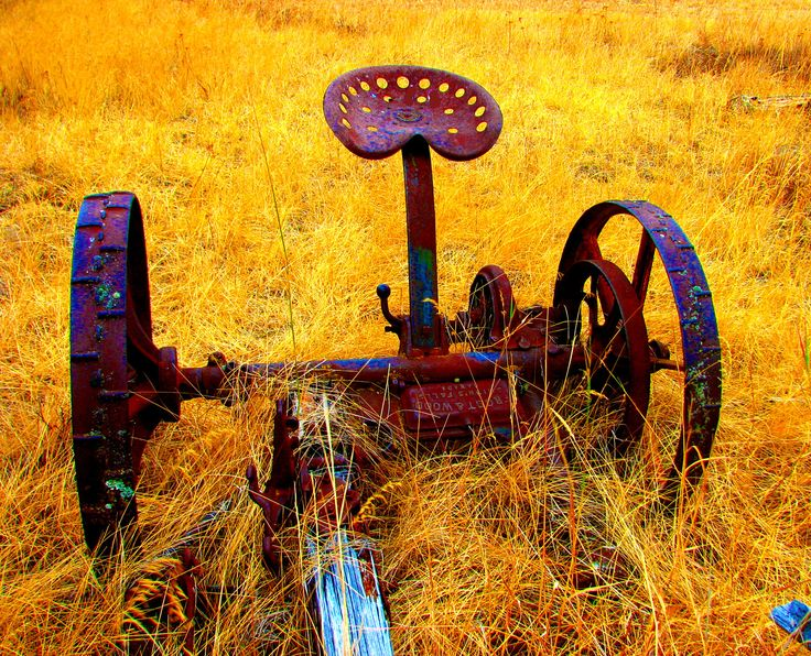 An old country mower - I had to use this as a girl working in the alfalfa fields- my dad sharpened the mower blades all the time.
