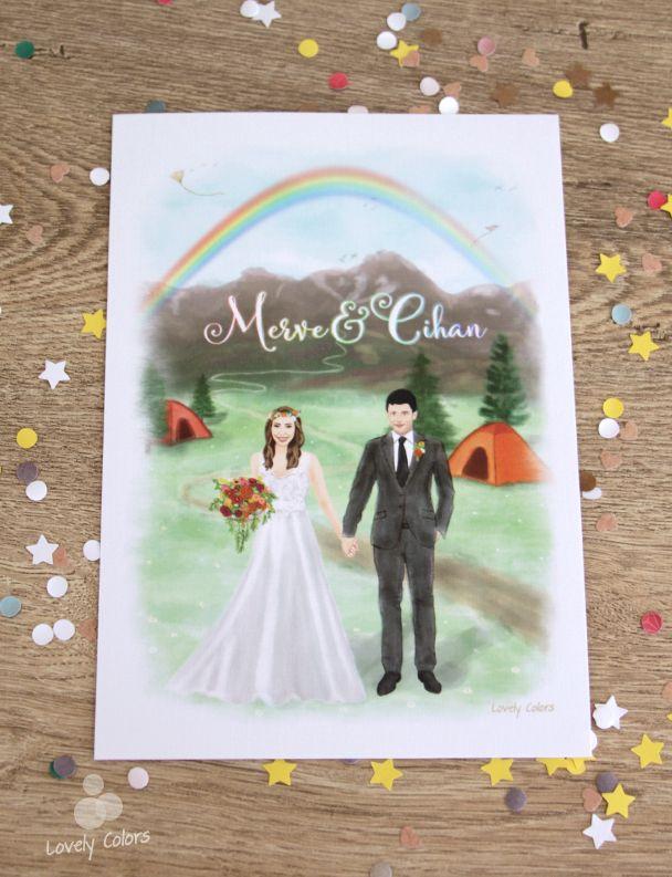 Lovely Colors, özel tasarım düğün davetiyesi. Bu suluboya resim davetiye modelimizde, gelin ve damadın hikayesini çizime dönüştürdük. // Watercolor wedding invitation, drawing / illustration of the bride and groom's story. // Under The Rainbow