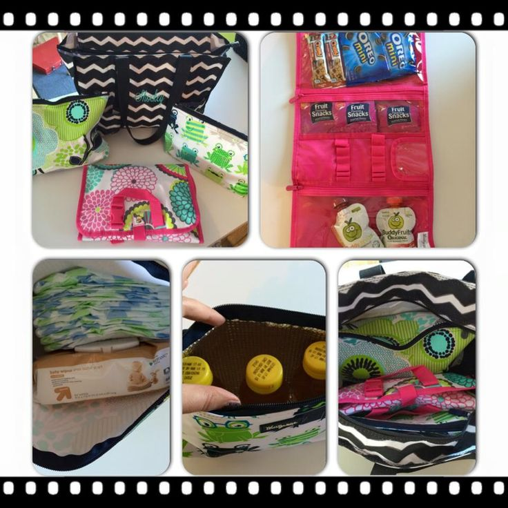 Thirty One Diaper Bag Organization!! Zout Bag Beauty Bag for treats Large Zipper pouch for diapers and wipes Medium THermal for drinks on the go fits perfect with extra room for a spare of clothes to fit too!  www.mythirtyone.com/brittshockey