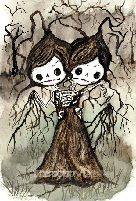 Siamesi gemelli scheletro sorelle albero Sugar skull stampa spettrale alberi pittura arte illustrazione originale