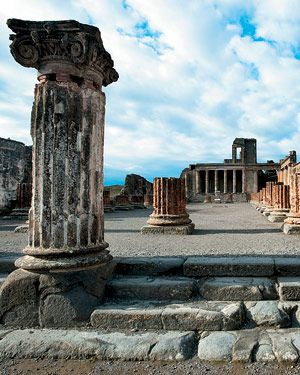 The ruins of Pompeii.  I have been here twice. Fascinating place.
