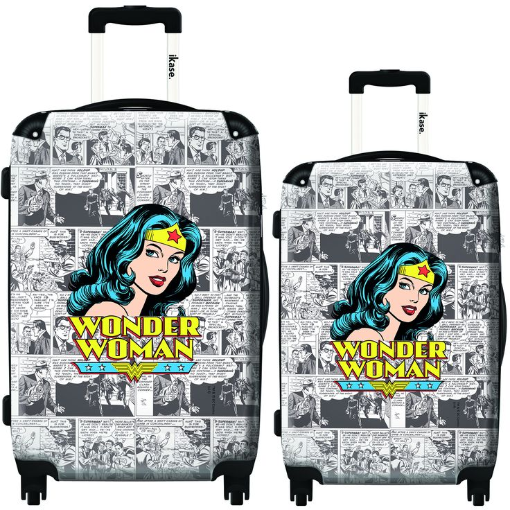 iKase Wonder Woman News 2-piece Hardside Spinner Luggage Set