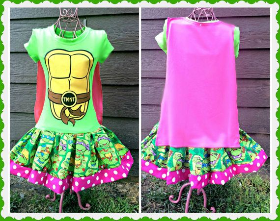 Girls Ninja Turtle Dress with cape Teenage by BlossomBlueBoutique