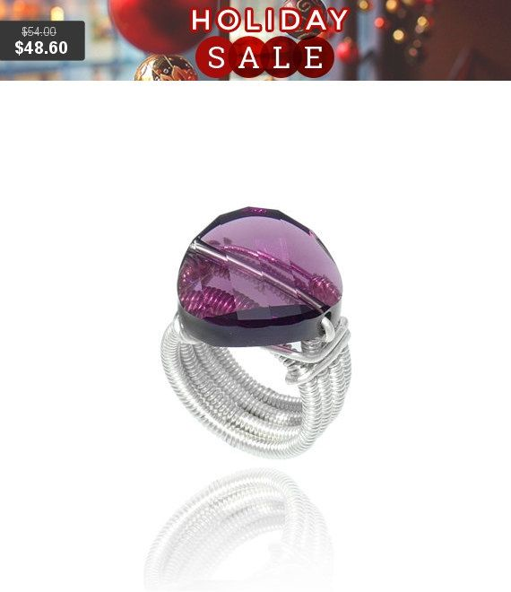 Holidays SALE Silver statement ring Purple stone ring by tamarmany