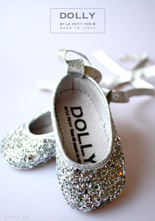 DOLLY by Le Petit Tom ® BABY BALLERINA'S 6B silver glitter darling!