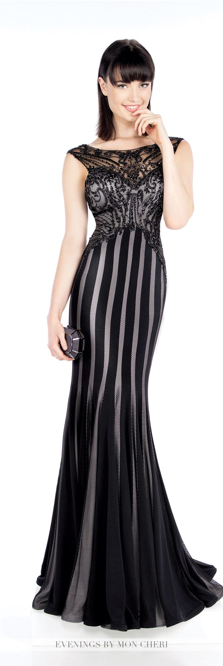 Formal Evening Gowns by Mon Cheri - Fall 2016 - Style No. MCE21609 - black and gray evening dress with beaded illusion bodice and striped skirt