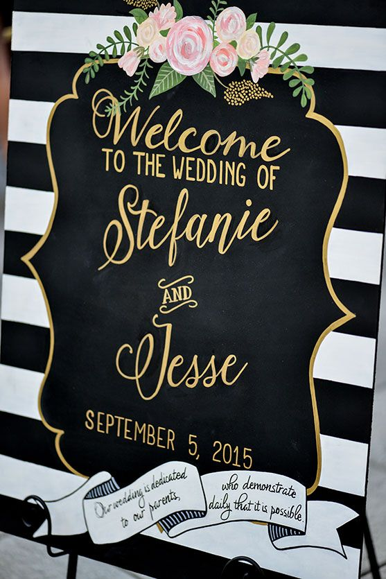 Hand-painted wedding welcome board.  Kate Spade inspired