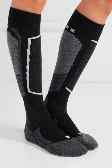 FALKE Ergonomic Sport System - Wool-blend Ski Socks - Black - 41/42
