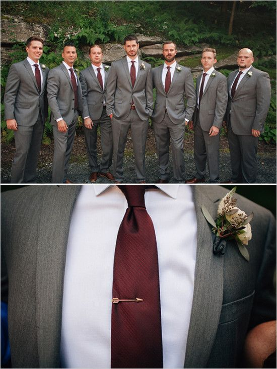 dark grey suits for the groom and his groomsmen