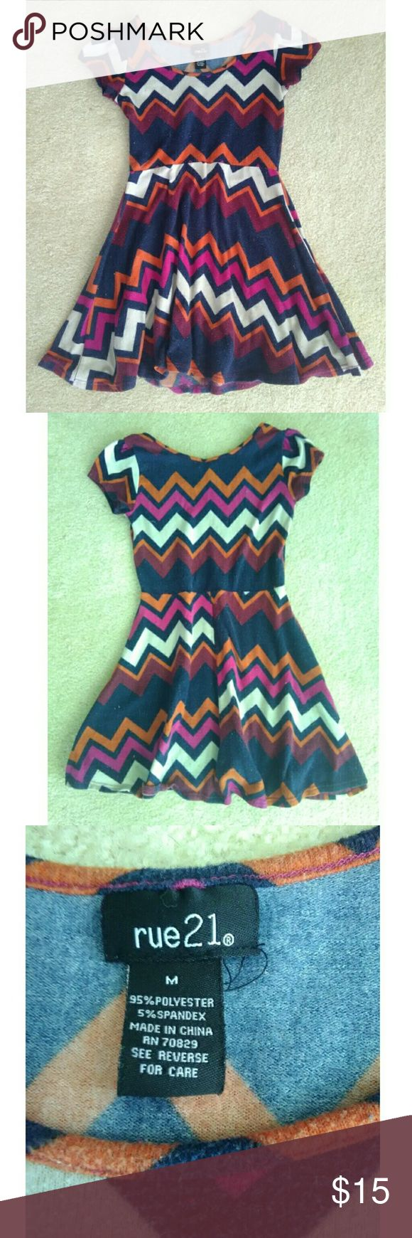 Rue21 Chevron Pattern Mini Skater Dress Really cute Chevron skater dress by Rue21. The fabric feels thick and warm, kind of like a sweater and it is in great condition. No damage or flaws other than the fabric's attraction to lint lol Rue21 Dresses Mini
