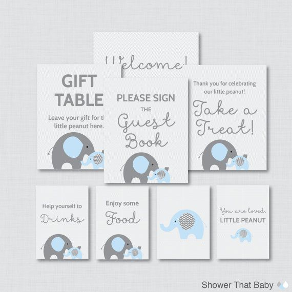 Printable Elephant Baby Shower Table Signs  by ShowerThatBaby