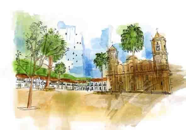 ilustración catedral zipaquirá imitación acuarela cualquier tamaño