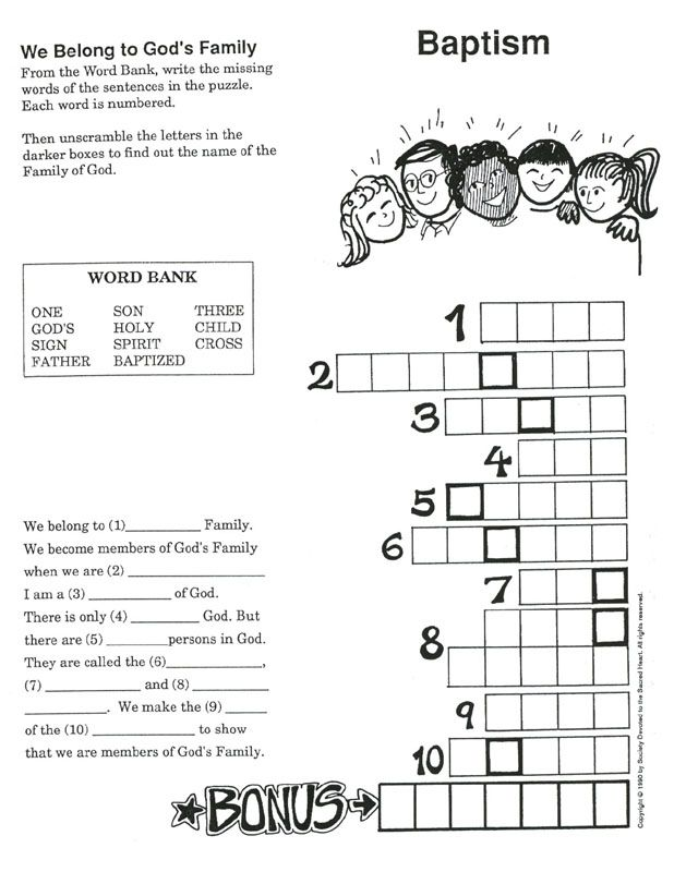 baptism activity sheets | Friends of Jesus and Mary / 13 - Baptism