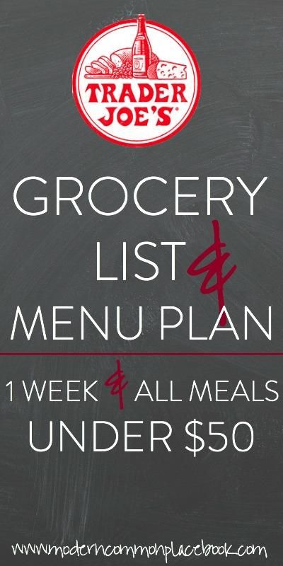 Grocery list and recipes for two | 1 week | under $50