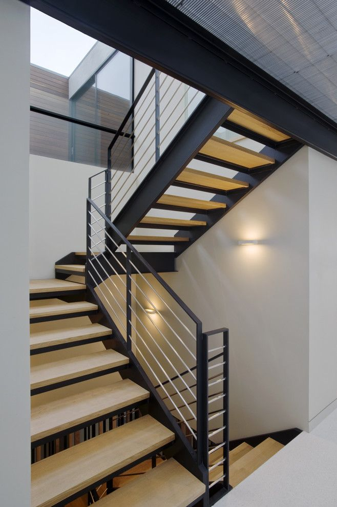 Superb Stair Railing decorating ideas for Graceful Staircase Modern design ideas with dark stained wood glass horizontal siding metal mesh floor metal railing metal