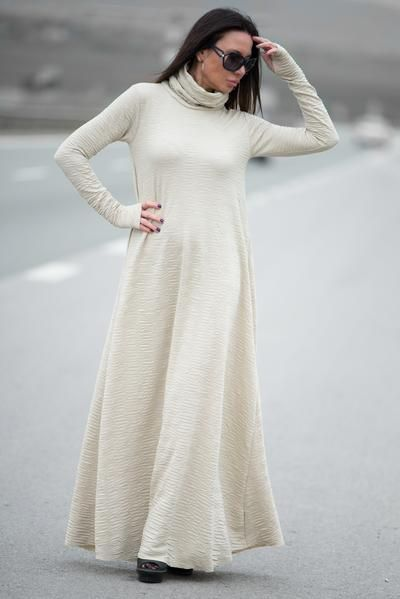 dc2ff7d8326 Autumn Winter Beige Plus Size Maxi Dress